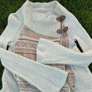 Free People Boho Poncho Fringe Festival Sweater